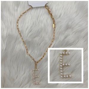 4/$20 BaubleBar Gold & Pearl Letter E Necklace